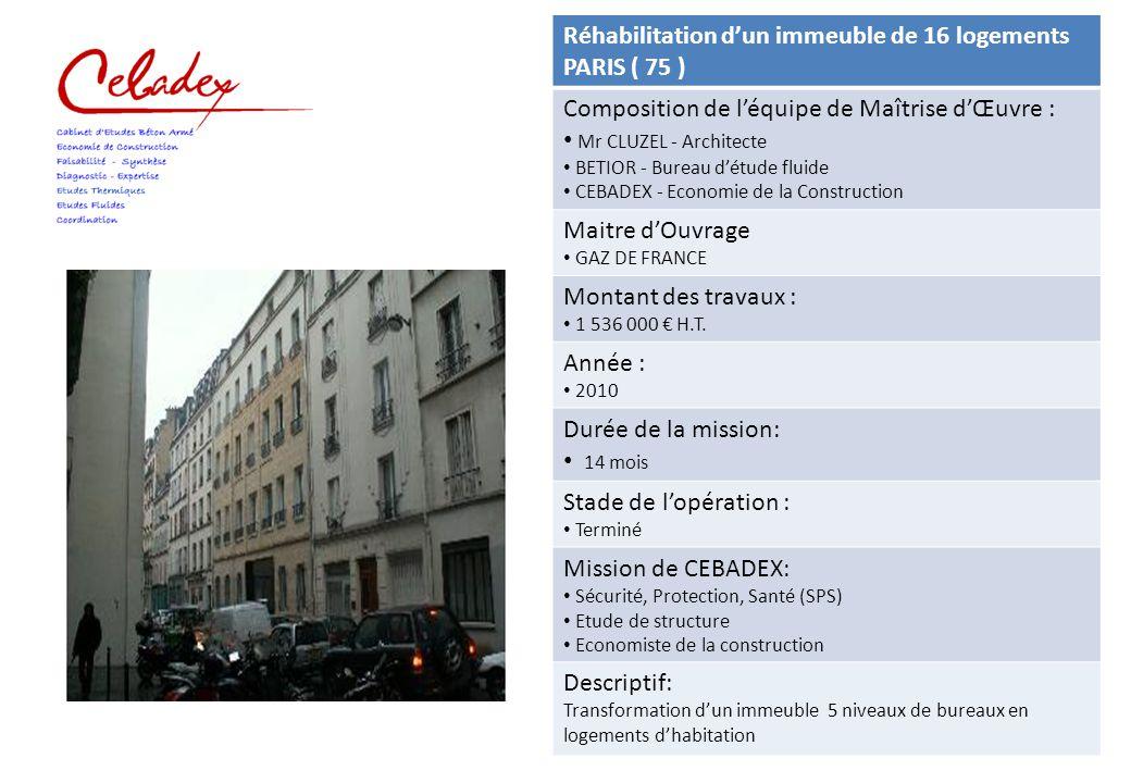 Réhabilitation d'un immeuble de 16 logements PARIS ( 75 ) Composition de l'équipe de Maîtrise d'Œuvre : Mr CLUZEL - Architecte BETIOR - Bureau d'étude
