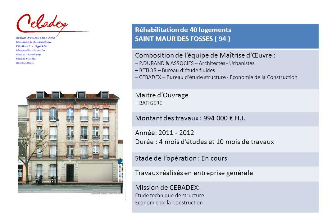 Réhabilitation de 40 logements SAINT MAUR DES FOSSES ( 94 ) Composition de l'équipe de Maîtrise d'Œuvre : – P.DURAND & ASSOCIES – Architectes - Urbani