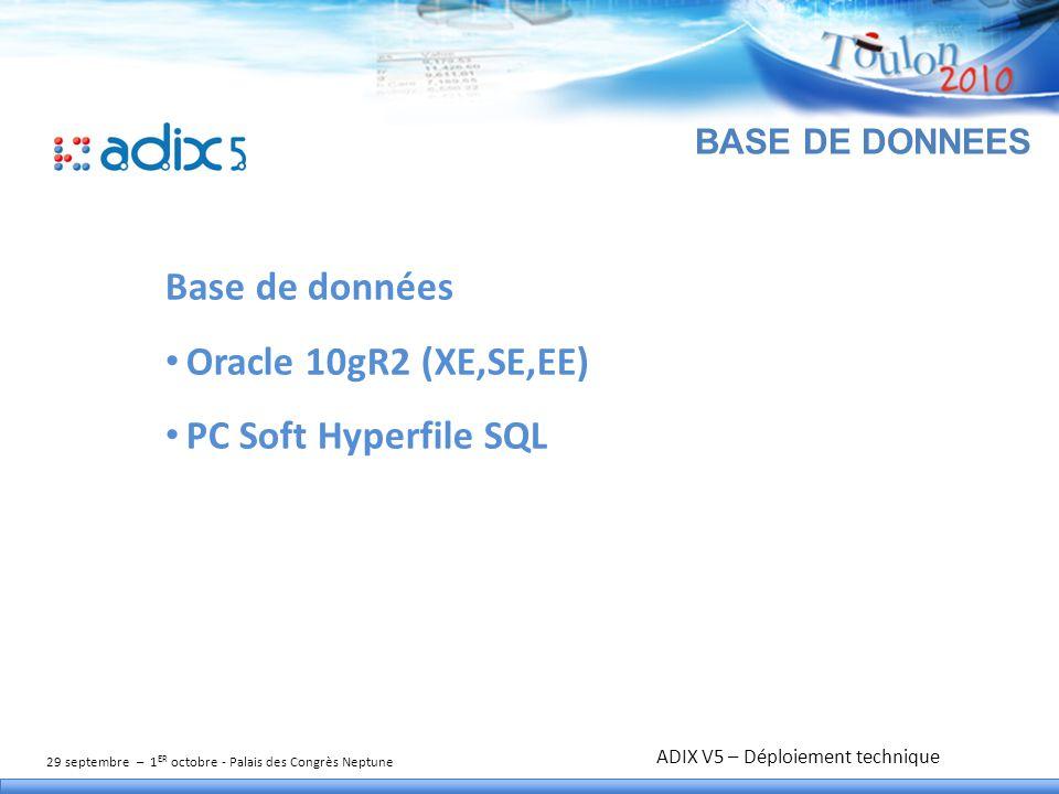 29 septembre – 1 ER octobre - Palais des Congrès Neptune TITRE DE L'ATELIER BASE DE DONNEES Base de données Oracle 10gR2 (XE,SE,EE) PC Soft Hyperfile SQL ADIX V5 – Déploiement technique