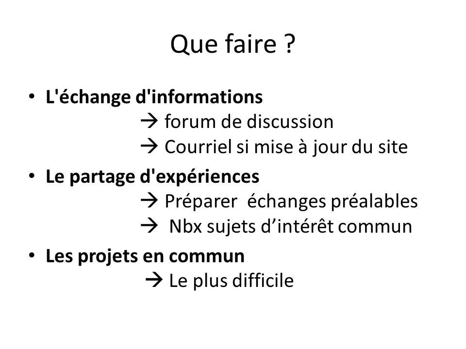 Que faire ? L'échange d'informations  forum de discussion  Courriel si mise à jour du site Le partage d'expériences  Préparer échanges préalables 
