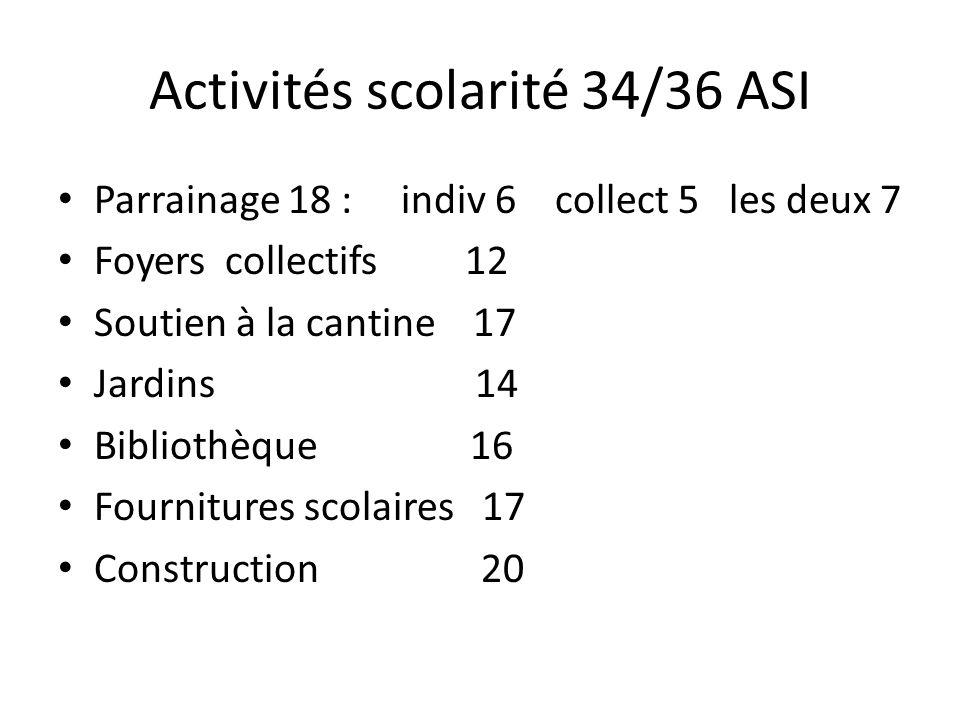 Activités de 36 ASI (suite) Santé : 22 Agriculture : 26 dont Moringa 15 Zaï 6 Microcrédit : 12 Art et culture : 7 Artisanat : 7