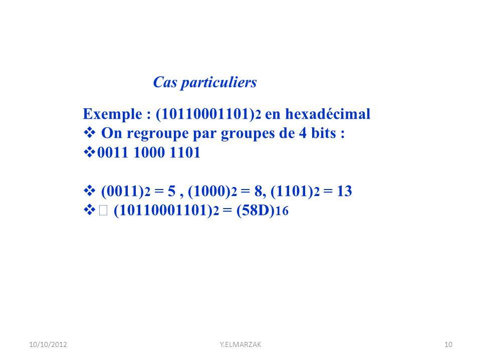 Exemple : (10110001101) 2 en hexadécimal  On regroupe par groupes de 4 bits :  0011 1000 1101  (0011) 2 = 5, (1000) 2 = 8, (1101) 2 = 13  (1011000