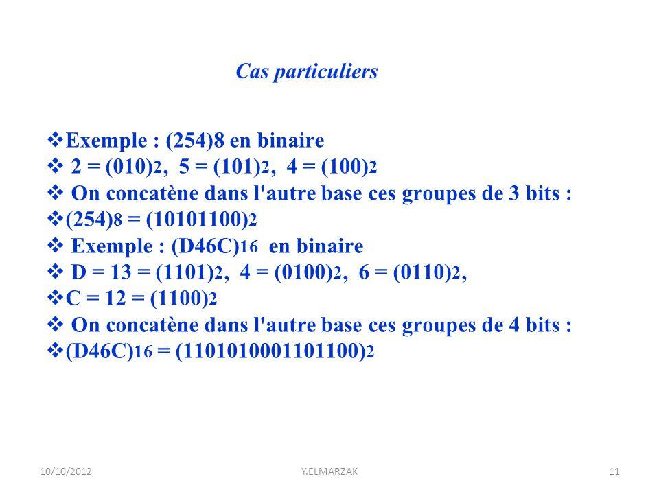  Exemple : (254)8 en binaire  2 = (010) 2, 5 = (101) 2, 4 = (100) 2  On concatène dans l'autre base ces groupes de 3 bits :  (254) 8 = (10101100)