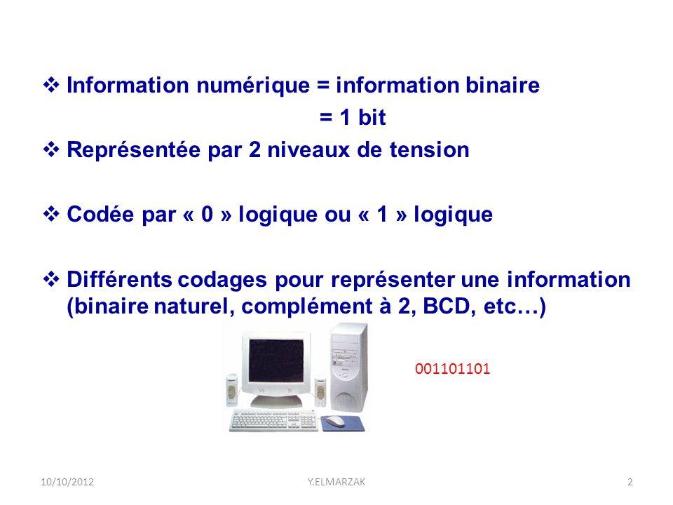 001101101  Information numérique = information binaire = 1 bit  Représentée par 2 niveaux de tension  Codée par « 0 » logique ou « 1 » logique  Di