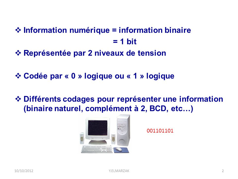  Base 10 – Décimal  10 symboles [ 0 1 2 3 4 5 6 7 8 9 ]  Base 2 – Binaire  2 symboles [ 0 1 ]  Base 8 – Octal  8 symboles [ 0 1 2 3 4 5 6 7 ]  Base 16 – Hexadécimal  16 symboles [ 0 1 2 3 4 5 6 7 8 9 A B C D E F ] 10/10/2012Y.ELMARZAK3