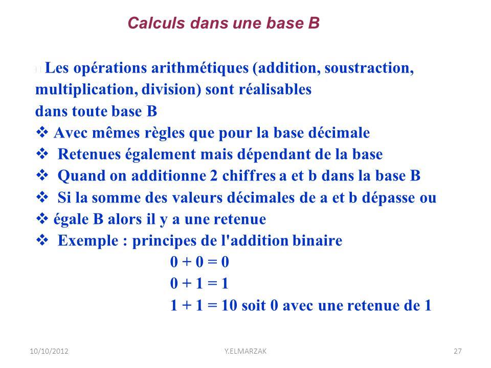 10/10/2012Y.ELMARZAK27 Les opérations arithmétiques (addition, soustraction, multiplication, division) sont réalisables dans toute base B  Avec mêmes