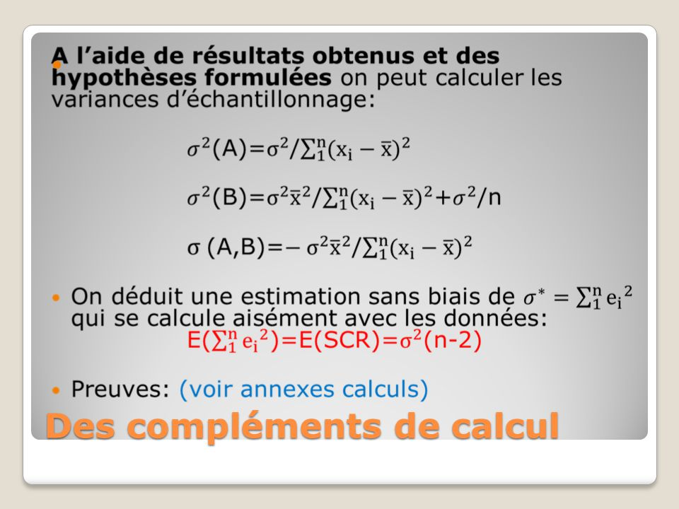 Des compléments de calcul