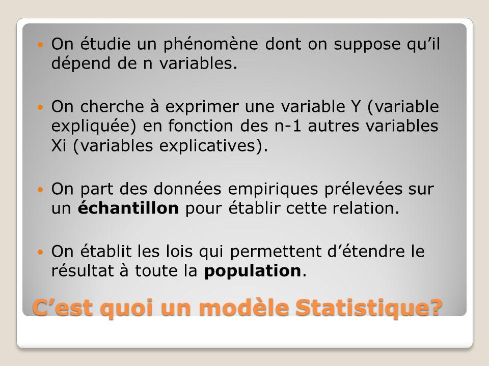 C'est quoi un modèle Statistique? On étudie un phénomène dont on suppose qu'il dépend de n variables. On cherche à exprimer une variable Y (variable e