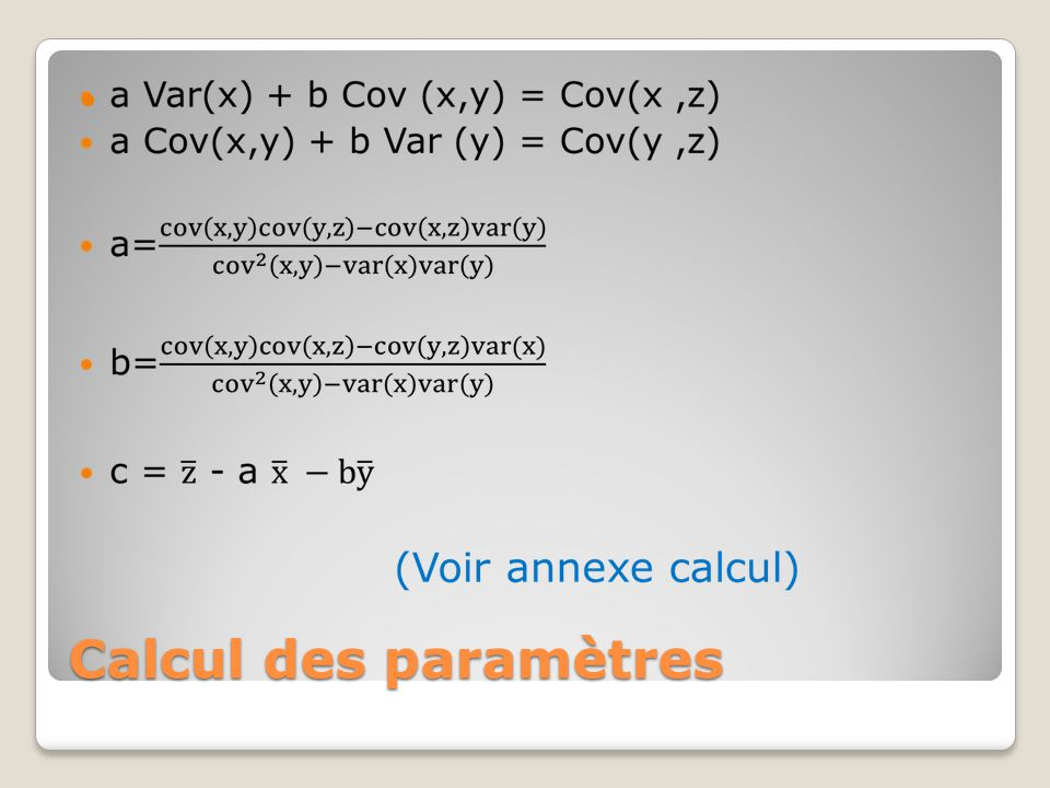Calcul des paramètres