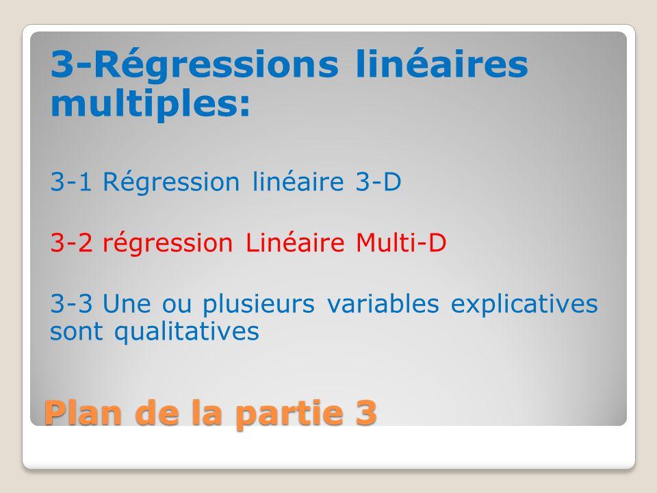 Plan de la partie 3 3-Régressions linéaires multiples: 3-1 Régression linéaire 3-D 3-2 régression Linéaire Multi-D 3-3 Une ou plusieurs variables expl