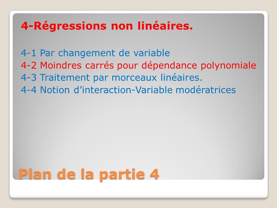 Plan de la partie 4 4-Régressions non linéaires. 4-1 Par changement de variable 4-2 Moindres carrés pour dépendance polynomiale 4-3 Traitement par mor