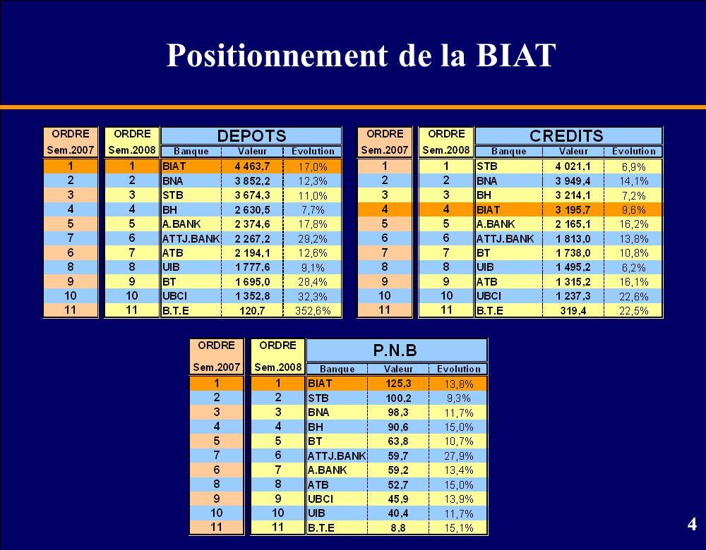 5 Part de marché de la BIAT Juin 2006Juin 2007Juin 2008 Dépôts Crédits P.N.B.