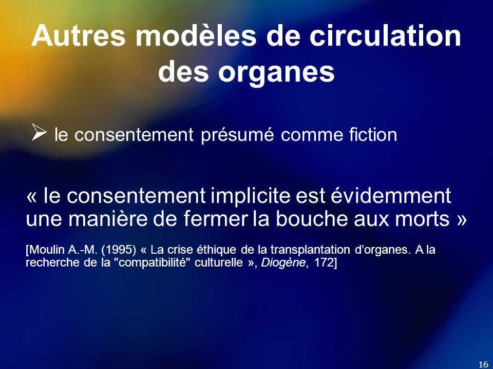 16 Autres modèles de circulation des organes  le consentement présumé comme fiction « le consentement implicite est évidemment une manière de fermer la bouche aux morts » [Moulin A.-M.