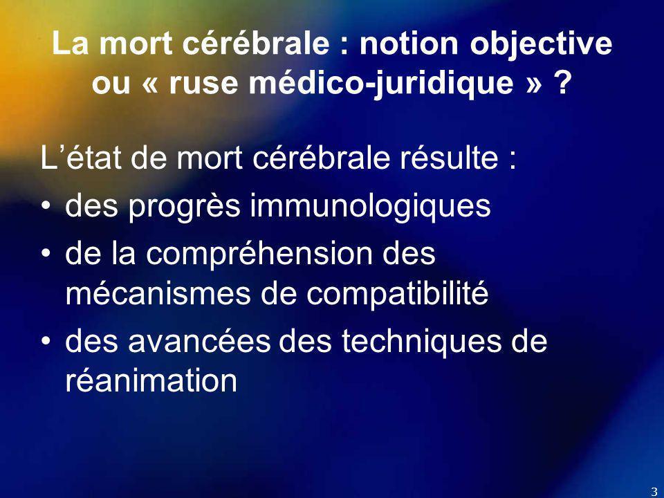 4 La mort cérébrale : notion objective ou « ruse médico-juridique » .