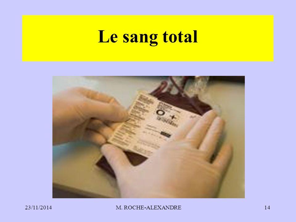 23/11/2014 M. ROCHE-ALEXANDRE14 Le sang total