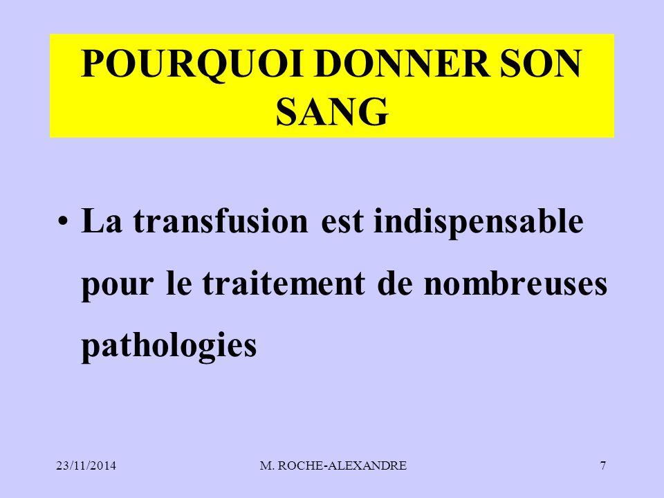 23/11/2014 M. ROCHE-ALEXANDRE7 POURQUOI DONNER SON SANG La transfusion est indispensable pour le traitement de nombreuses pathologies