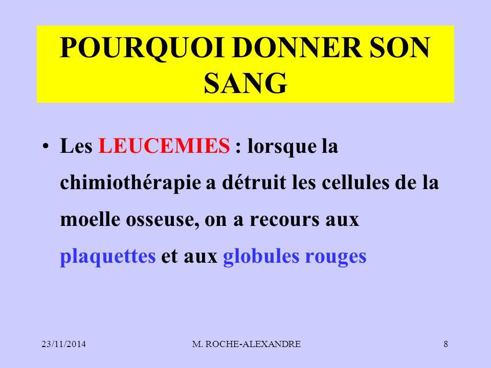 23/11/2014 M. ROCHE-ALEXANDRE8 POURQUOI DONNER SON SANG Les LEUCEMIES : lorsque la chimiothérapie a détruit les cellules de la moelle osseuse, on a re