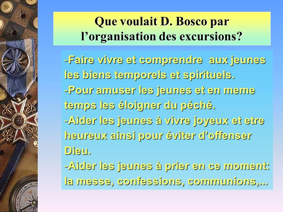 Que voulait D. Bosco par l'organisation des excursions.