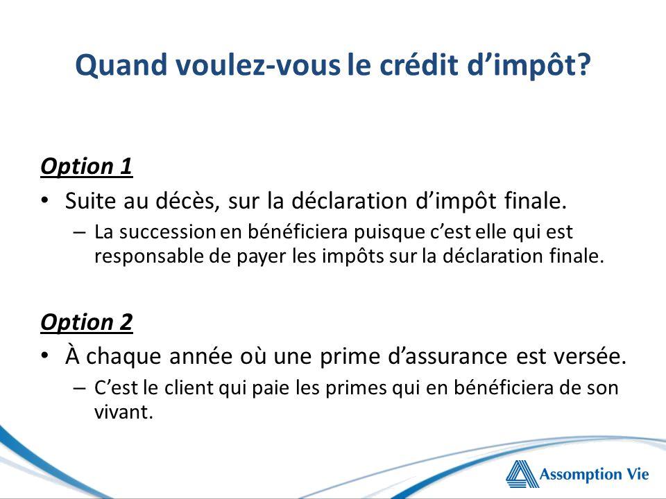 Quand voulez-vous le crédit d'impôt.Option 1 Suite au décès, sur la déclaration d'impôt finale.