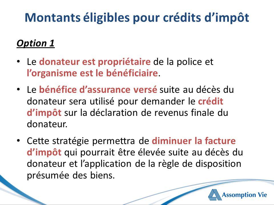 Montants éligibles pour crédits d'impôt Option 1 Le donateur est propriétaire de la police et l'organisme est le bénéficiaire.
