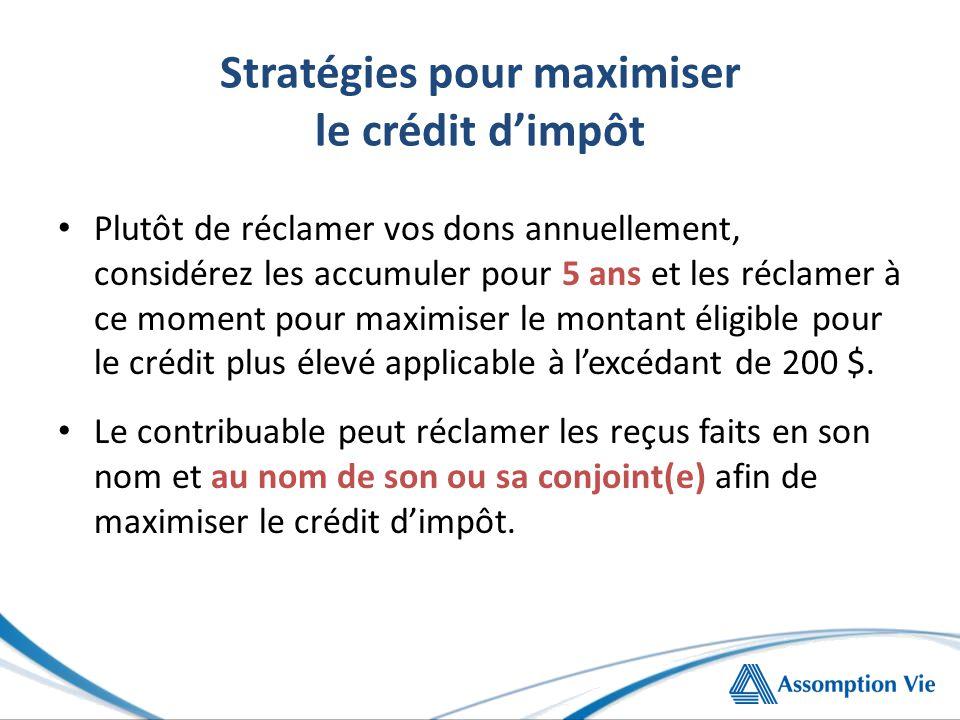 Stratégies pour maximiser le crédit d'impôt Plutôt de réclamer vos dons annuellement, considérez les accumuler pour 5 ans et les réclamer à ce moment pour maximiser le montant éligible pour le crédit plus élevé applicable à l'excédant de 200 $.
