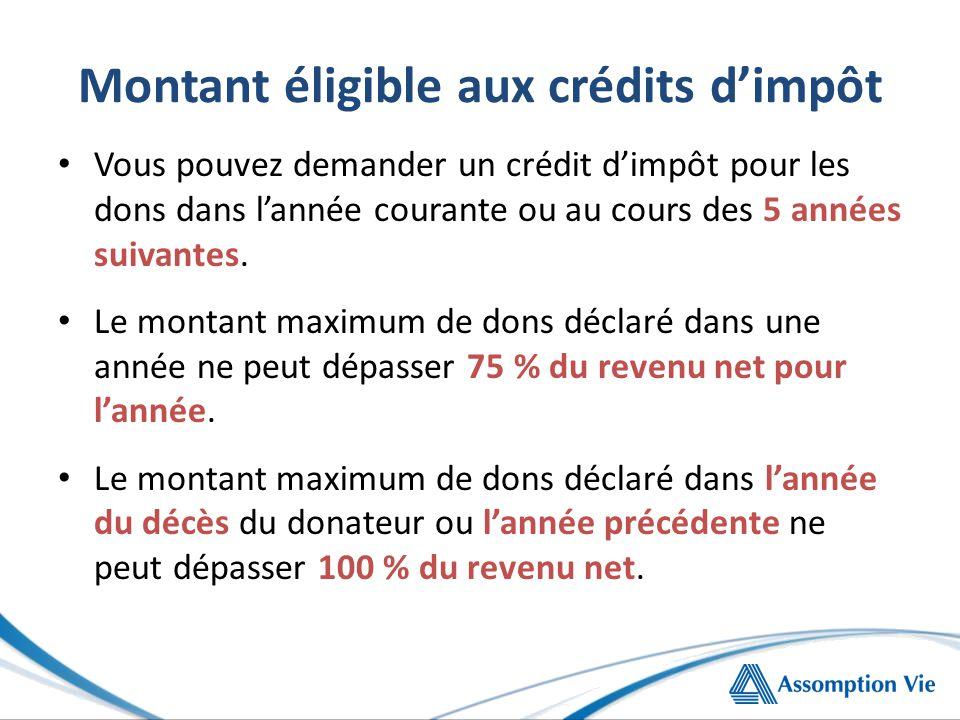 Montant éligible aux crédits d'impôt Vous pouvez demander un crédit d'impôt pour les dons dans l'année courante ou au cours des 5 années suivantes.