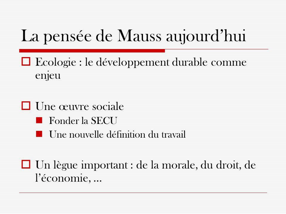 La pensée de Mauss aujourd'hui  Ecologie : le développement durable comme enjeu  Une œuvre sociale Fonder la SECU Une nouvelle définition du travail