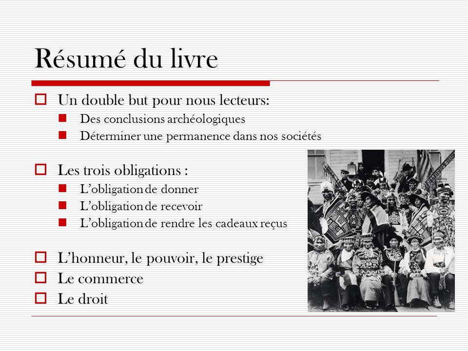 Résumé du livre  Un double but pour nous lecteurs: Des conclusions archéologiques Déterminer une permanence dans nos sociétés  Les trois obligations