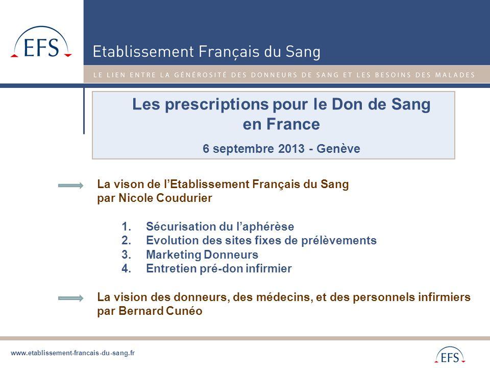 www.etablissement-francais-du-sang.fr Les prescriptions pour le Don de Sang en France 6 septembre 2013 - Genève La vison de l'Etablissement Français d