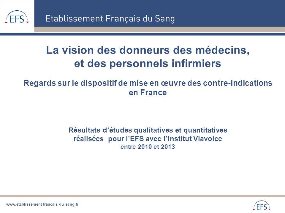 www.etablissement-francais-du-sang.fr La vision des donneurs des médecins, et des personnels infirmiers Regards sur le dispositif de mise en œuvre des