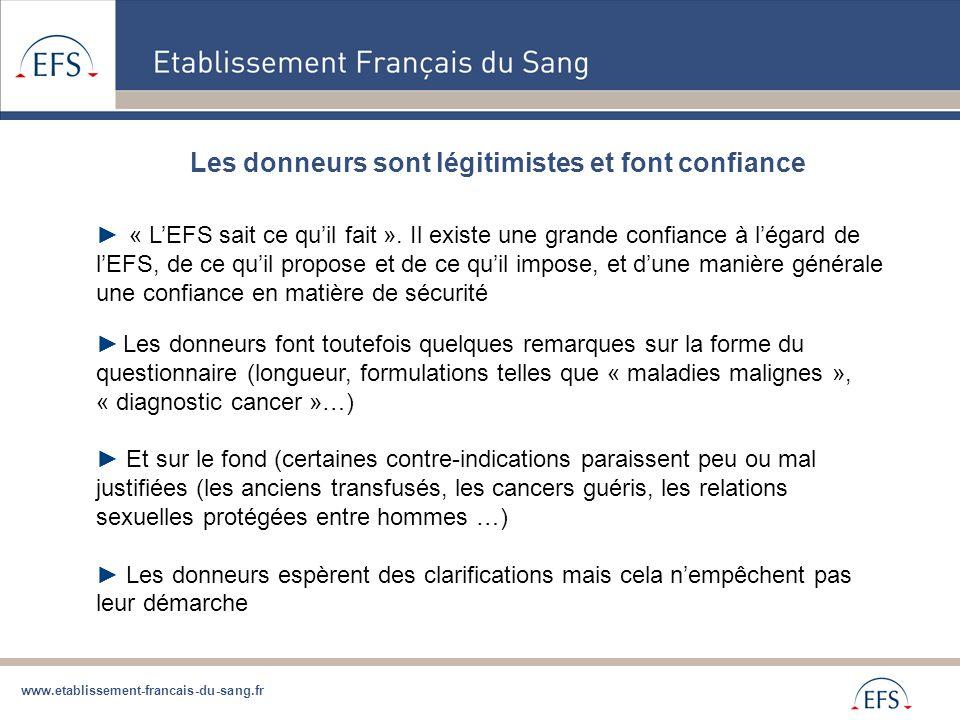 www.etablissement-francais-du-sang.fr Les donneurs sont légitimistes et font confiance ► « L'EFS sait ce qu'il fait ». Il existe une grande confiance