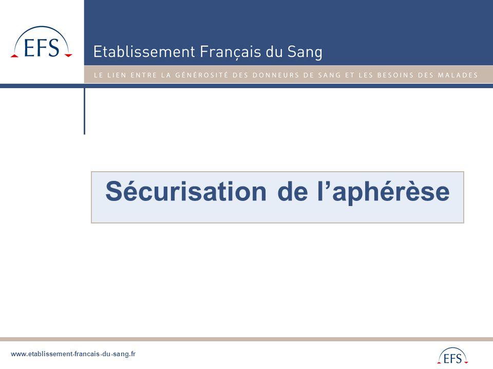 www.etablissement-francais-du-sang.fr Sécurisation de l'aphérèse