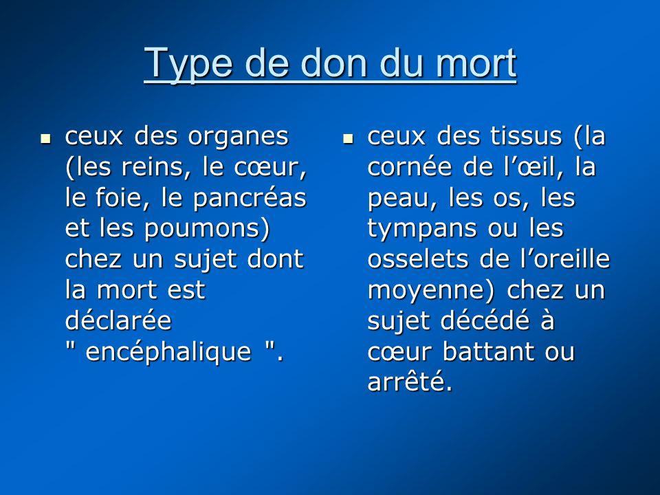 Type de don du mort ceux des organes (les reins, le cœur, le foie, le pancréas et les poumons) chez un sujet dont la mort est déclarée