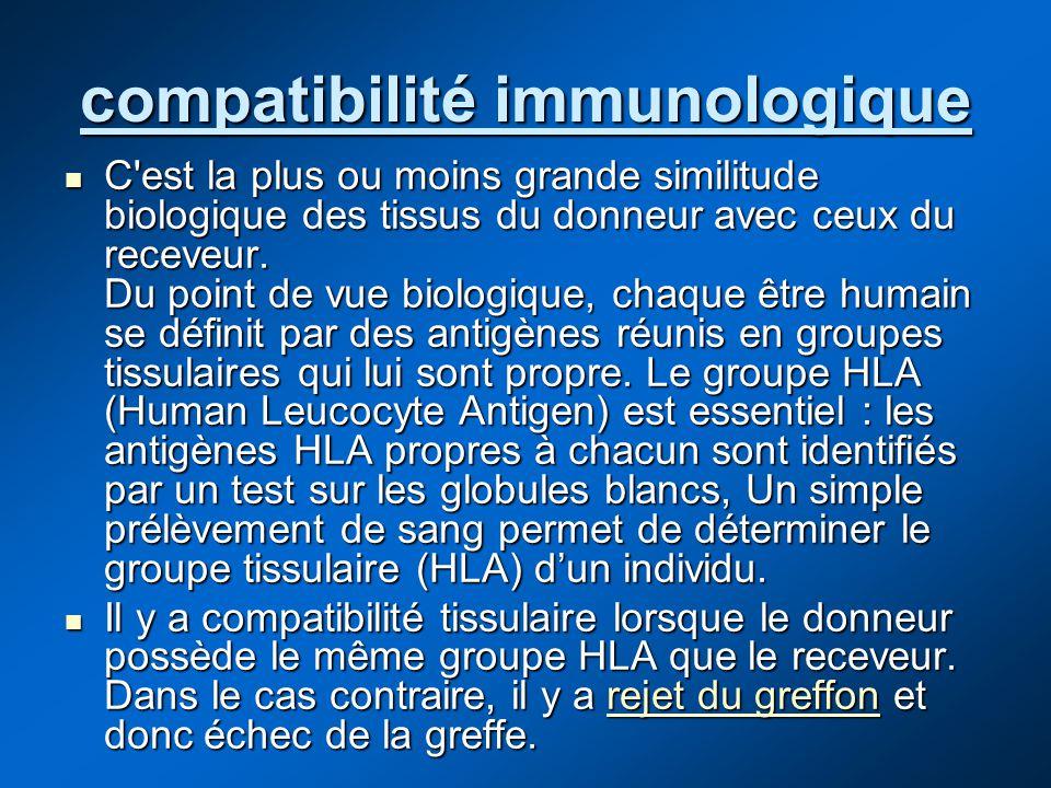compatibilité immunologique C'est la plus ou moins grande similitude biologique des tissus du donneur avec ceux du receveur. Du point de vue biologiqu