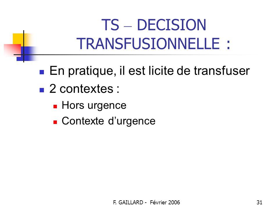F. GAILLARD - Février 200630 TS – DECISION TRANSFUSIONNELLE : Décision MEDICALE : Prend en compte les différents aspects cliniques, biologiques, voire