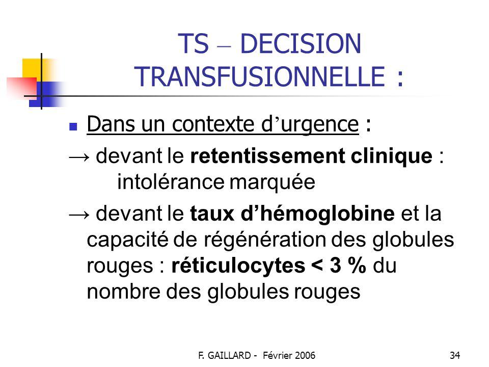 F. GAILLARD - Février 200633 TS – DECISION TRANSFUSIONNELLE : Hors urgence (suite) : → transfusion de plaquettes : Devant les signes cliniques d'une t