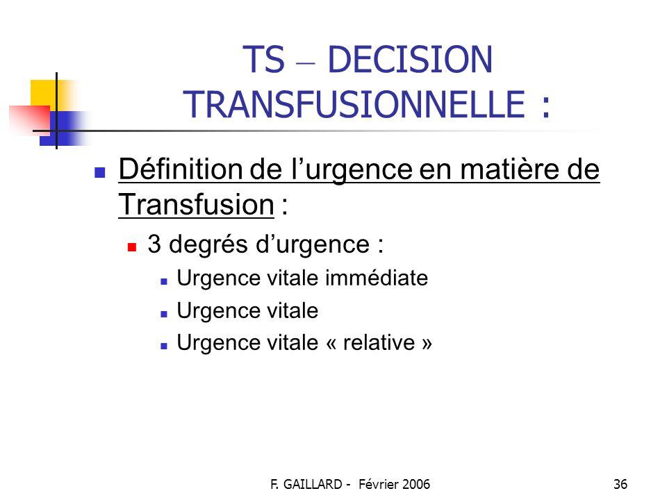F. GAILLARD - Février 200635 TS – DECISION TRANSFUSIONNELLE : Dans un contexte d ' urgence (suite) : → devant le bilan d'hémostase : plaquettes, TP, T