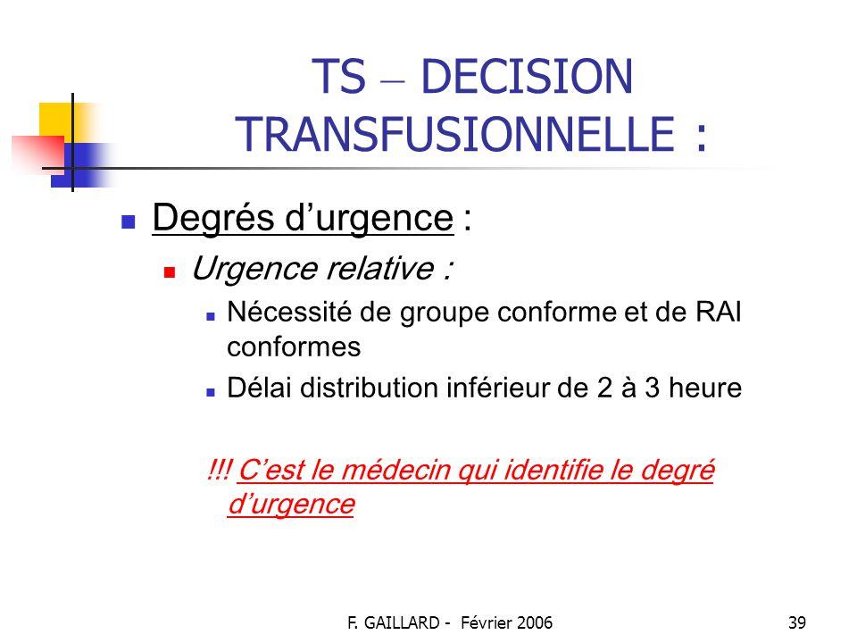 F. GAILLARD - Février 200638 TS – DECISION TRANSFUSIONNELLE : Degrés d'urgence : Urgence vitale : Nécessité de groupe conforme Pas de RAI Délai distri