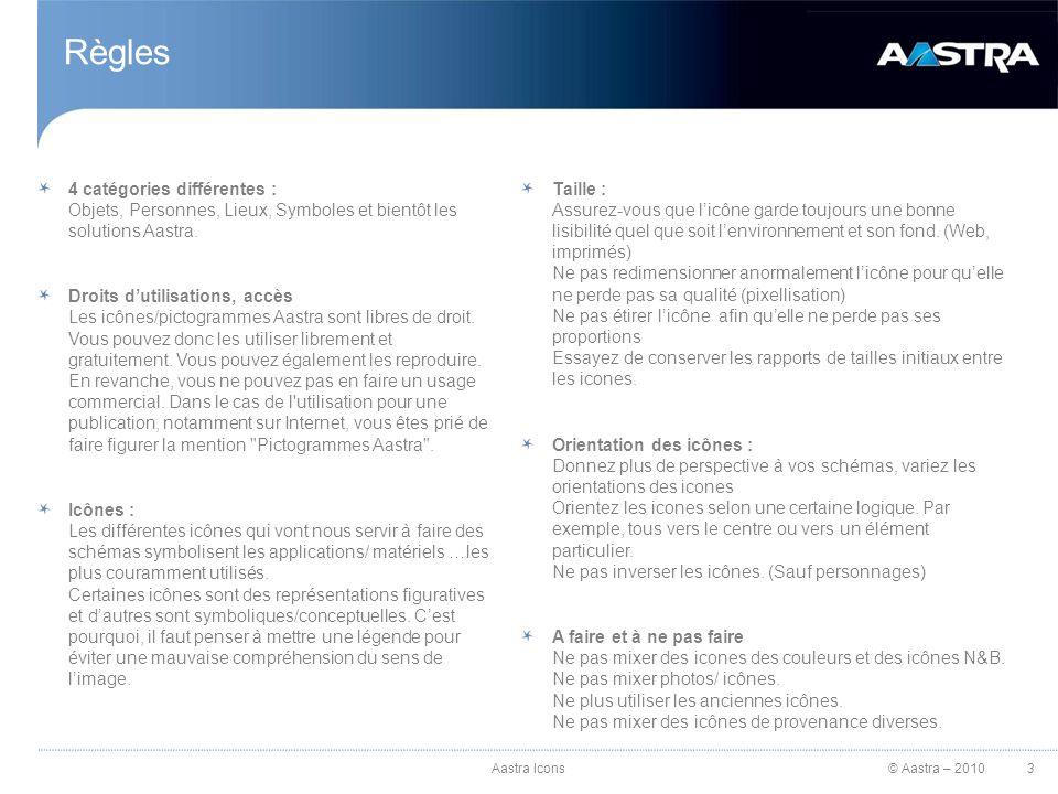 © Aastra – 2010 Règles 4 catégories différentes : Objets, Personnes, Lieux, Symboles et bientôt les solutions Aastra.