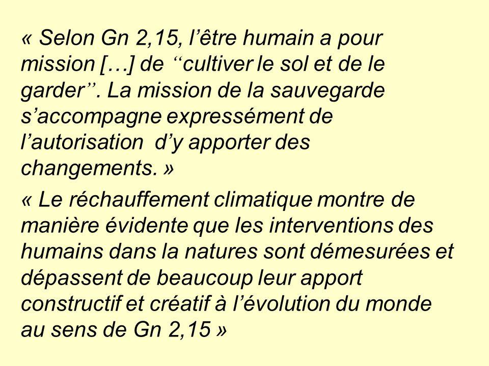 """« Selon Gn 2,15, l'être humain a pour mission […] de """" cultiver le sol et de le garder """". La mission de la sauvegarde s'accompagne expressément de l'a"""
