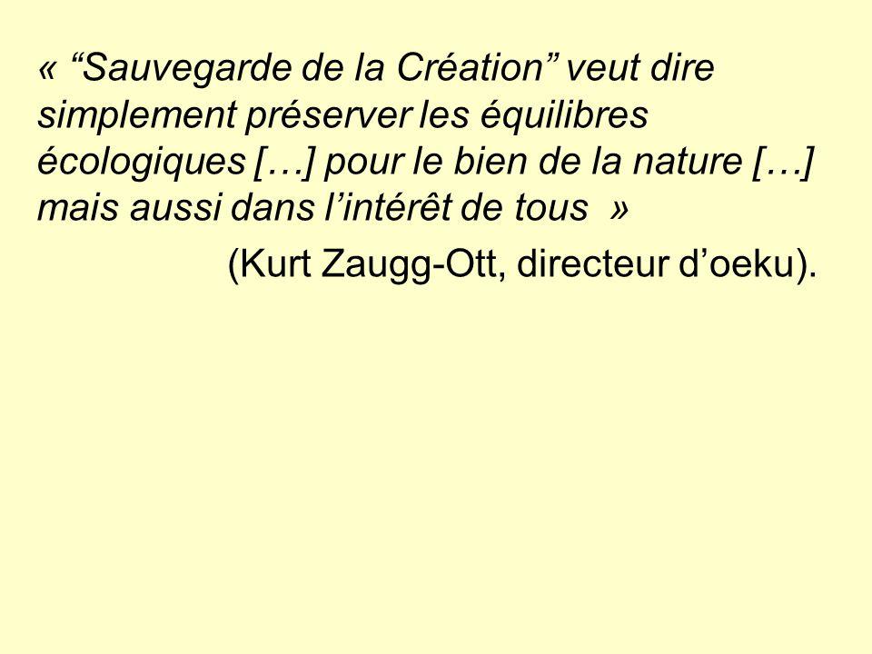 « Sauvegarde de la Création veut dire simplement préserver les équilibres écologiques […] pour le bien de la nature […] mais aussi dans l'intérêt de tous » (Kurt Zaugg-Ott, directeur d'oeku).