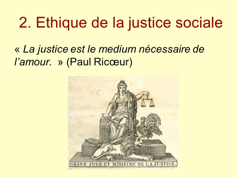 2. Ethique de la justice sociale « La justice est le medium nécessaire de l'amour. » (Paul Ricœur)