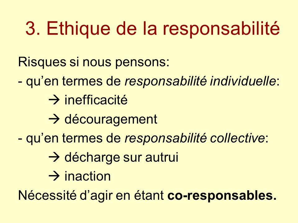 3. Ethique de la responsabilité Risques si nous pensons: - qu'en termes de responsabilité individuelle:  inefficacité  découragement - qu'en termes