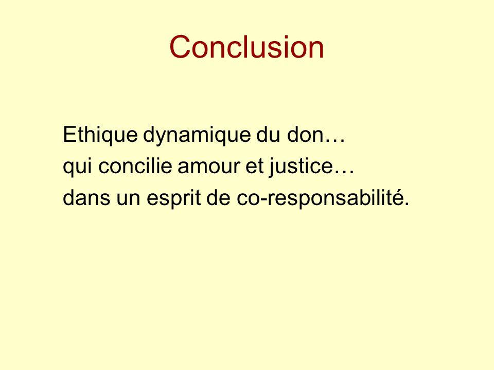 Conclusion Ethique dynamique du don… qui concilie amour et justice… dans un esprit de co-responsabilité.