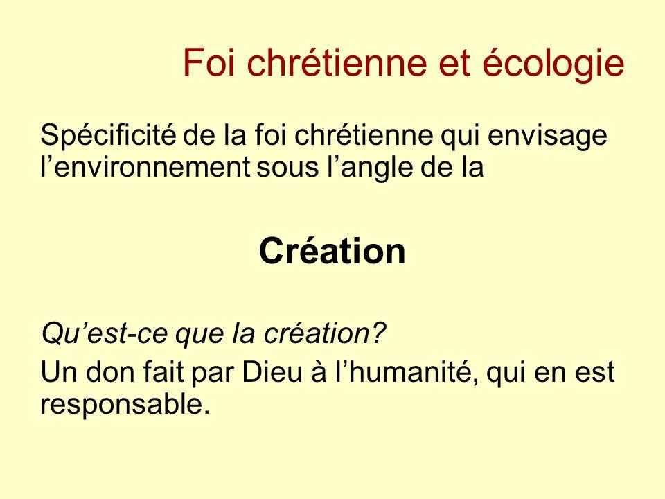 Foi chrétienne et écologie Spécificité de la foi chrétienne qui envisage l'environnement sous l'angle de la Création Qu'est-ce que la création? Un don