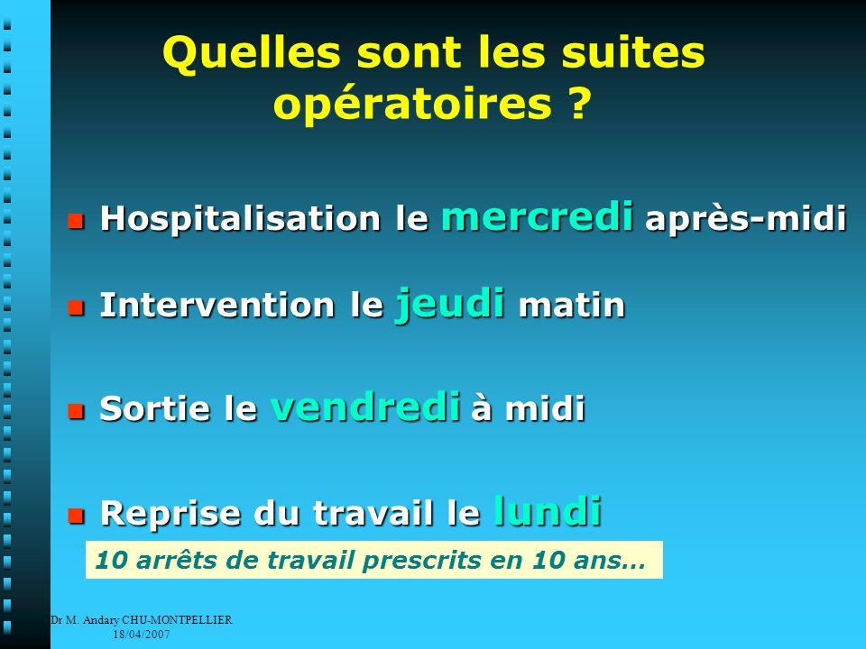 Dr M. Andary CHU-MONTPELLIER 18/04/2007 Quelles sont les suites opératoires .