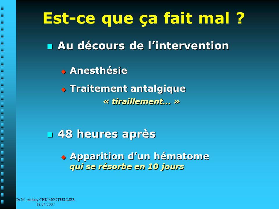 Dr M. Andary CHU-MONTPELLIER 18/04/2007 Est-ce que ça fait mal .