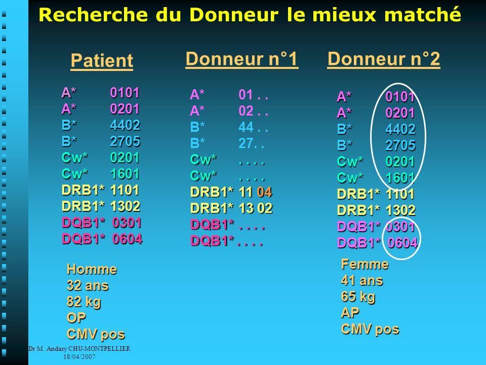 Dr M. Andary CHU-MONTPELLIER 18/04/2007 Recherche du Donneur le mieux matché A* 01..