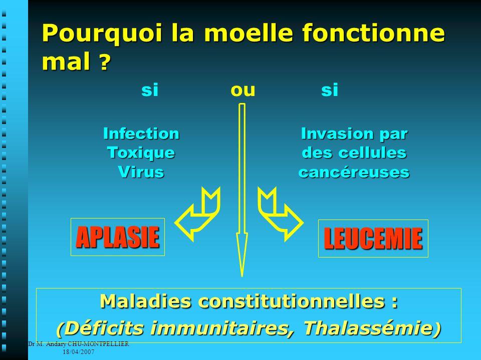 Dr M. Andary CHU-MONTPELLIER 18/04/2007 Pourquoi la moelle fonctionne mal .