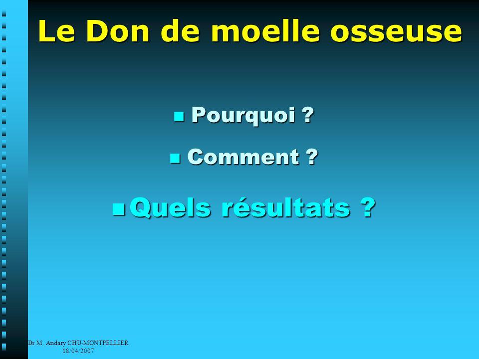 Dr M. Andary CHU-MONTPELLIER 18/04/2007 Le Don de moelle osseuse Pourquoi .